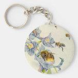 Honey Bees & Morning Glory Flowers EZ2 Customize Basic Round Button Keychain