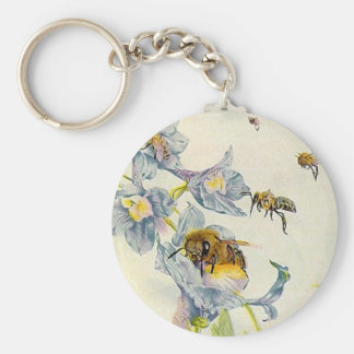 Honey Bees & Morning Glory Flowers EZ2 Customize Keychain