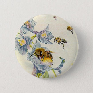 Honey Bees & Morning Glory Flowers EZ2 Customize Pinback Button