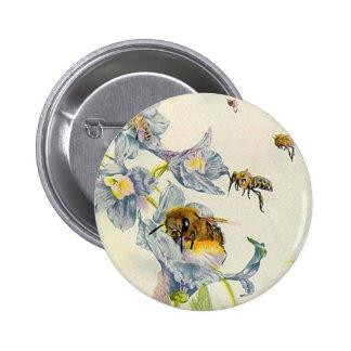 Honey Bees & Morning Glory Flowers EZ2 Customize Pinback Button