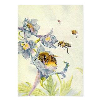 Honey Bees & Morning Glory Flowers Invitations Any