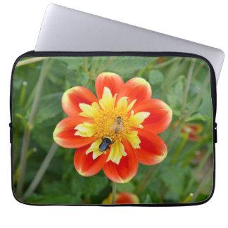 Honey bees on dahlia flower laptop sleeve