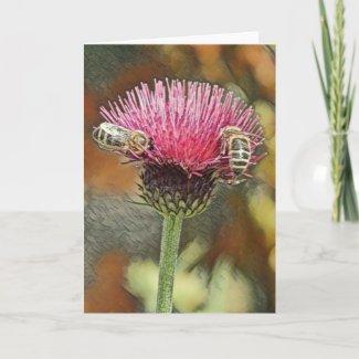 Honey Bees Pastel Art Greeting Card