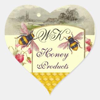 HONEY BEES ,RED POPPIES BEEKEEPER HEART MONOGRAM HEART STICKER