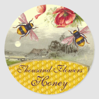 HONEY BEES,RED POPPIES RUSTIC LANDSCAPE BEEKEEPER CLASSIC ROUND STICKER