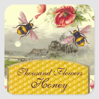 HONEY BEES,RED POPPIES RUSTIC LANDSCAPE BEEKEEPER SQUARE STICKER