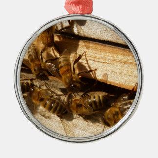 Honey Bees Round Metal Christmas Ornament