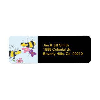 Honey Bees & Spring Flowers Label