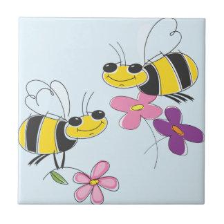 Honey Bees & Spring Flowers Tile