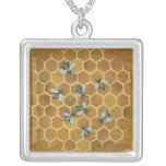 honey bees square pendant necklace