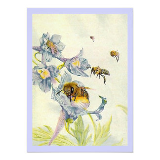"Honey Bees & Wildflowers Lavender Invitations 5.5"" X 7.5"" Invitation Card"