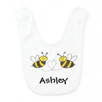 Honey Bees with Heart Baby Bib
