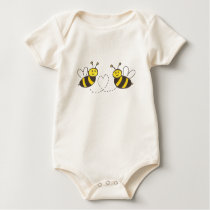 Honey Bees with Heart Baby Bodysuit