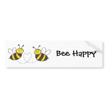 Valentines Themed Honey Bees with Heart Bee Happy Bumper Sticker