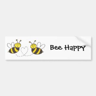 Honey Bees with Heart Bee Happy Bumper Sticker Car Bumper Sticker