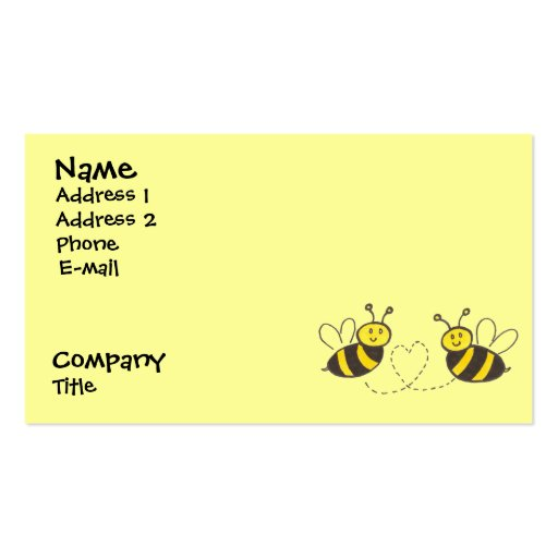 Honey Bees with Heart Business Card Template