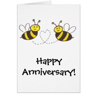 Honey Bees with Heart Card