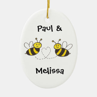 Honey Bees with Heart Ceramic Ornament