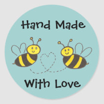 Honey Bees with Heart Classic Round Sticker
