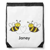 Honey Bees with Heart Drawstring Backpack