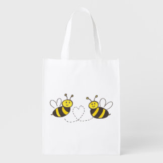 Honey Bees with Heart Grocery Bag