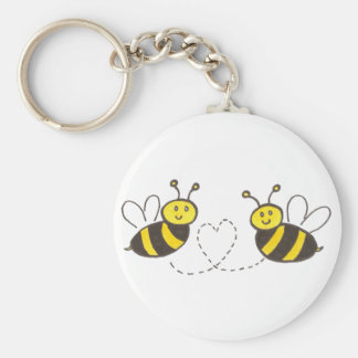 Honey Bees with Heart Keychain