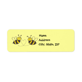Honey Bees with Heart Label
