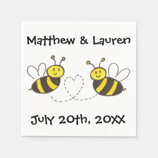 Honey Bees with Heart on White with Name and Date Paper Napkin