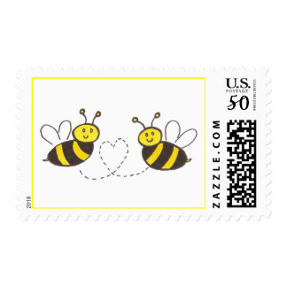 Honey Bees with Heart Postage