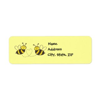 Honey Bees with Heart Return Address Labels