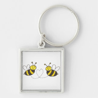 Honey Bees with Heart Silver-Colored Square Keychain