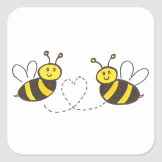Honey Bees with Heart Square Sticker