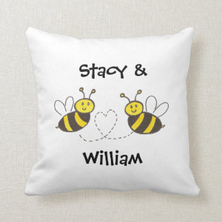 Honey Bees with Heart Throw Pillow