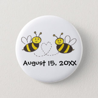 Honey Bees with Heart with Customizable Date Button