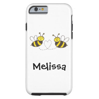 Honey Bees with Heart with Name Tough iPhone 6 Case