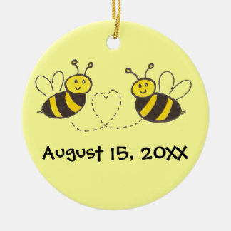 Honey Bees with Heart with Names and Date Ceramic Ornament