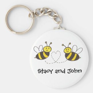 Honey Bees with Heart with Personalized Name Basic Round Button Keychain