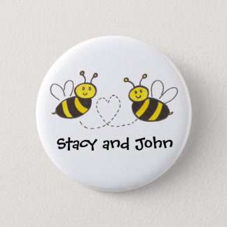 Honey Bees with Heart with Personalized Name Button