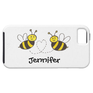 Honey Bees with Heart with Personalized Name iPhone 5 Cases