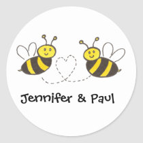 Honey Bees with Heart with Personalized Names Classic Round Sticker