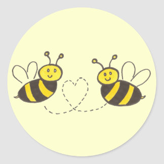 Honey Bees with Heart Yellow Background Classic Round Sticker