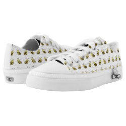 Honey Bees with Heart Yellow Black White Shoes Printed Shoes