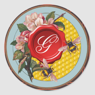HONEY BEES WITH WILD ROSES RED WAX SEAL MONOGRAM