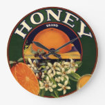 Honey Brand Citrus Crate Label Clock