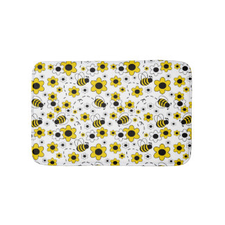 Honey Bumble Bee Bumblebee Girl Yellow Floral Bathroom Mat