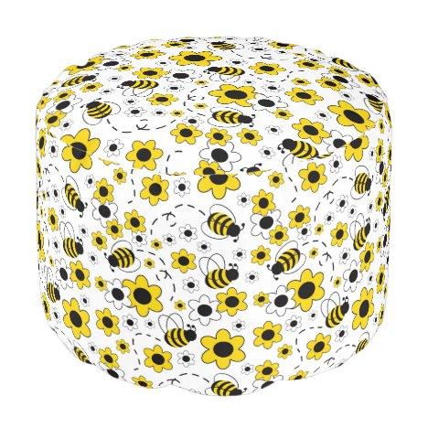 Honey Bumble Bee Bumblebee Girl Yellow Floral Pouf