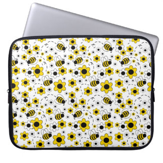 Honey Bumble Bee Bumblebee White Yellow Floral Laptop Sleeve
