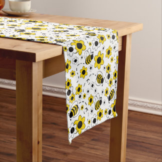 Honey Bumble Bee Bumblebee White Yellow Floral Short Table Runner