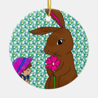 Honey Bunny Ceramic Ornament