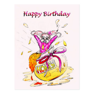 Honey Bunny Happy Birthday fun pink drawing card